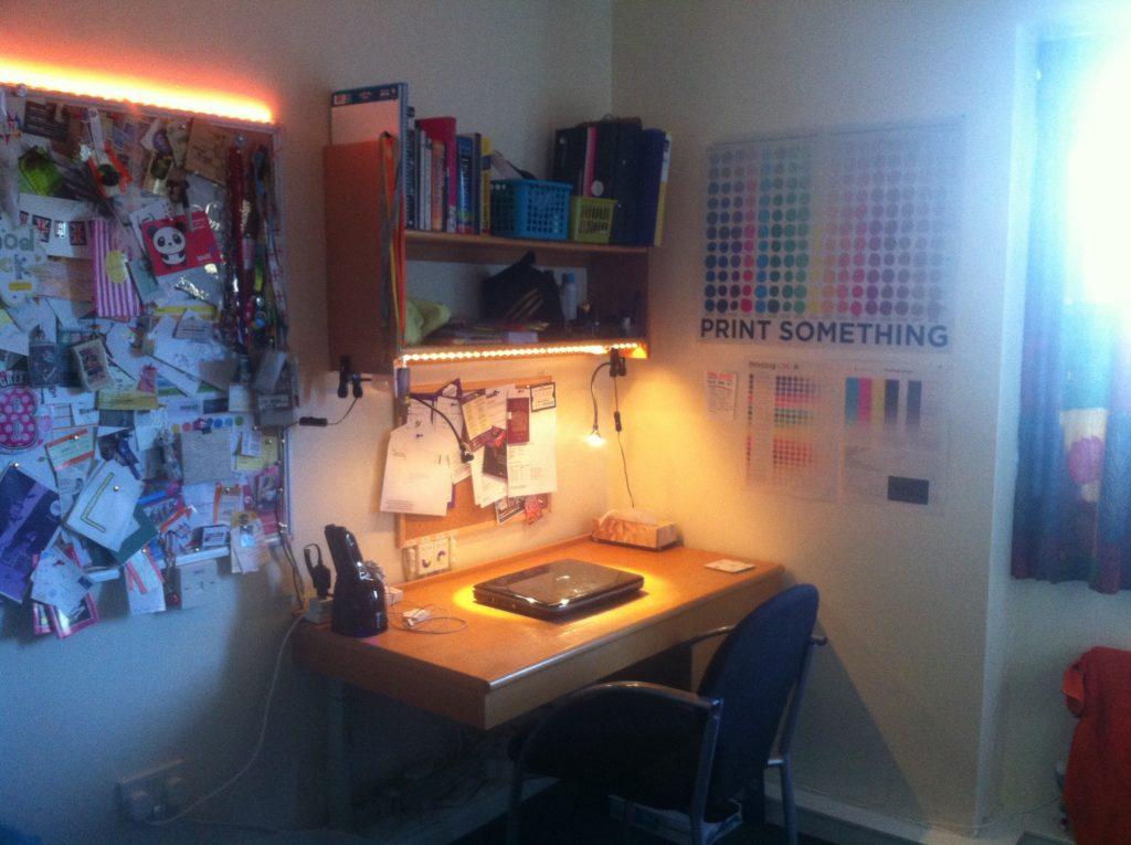 My desk and cork board