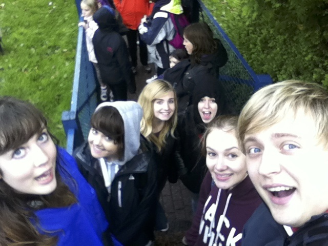 Some of us waiting for the log flume