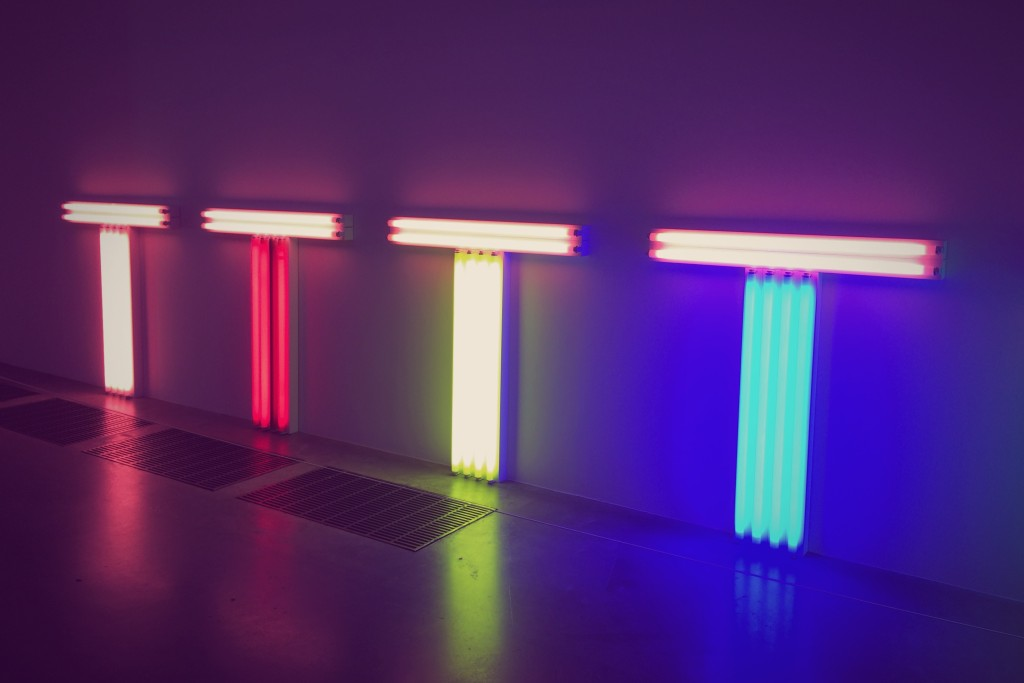 One part of a two piece Dan Flavin installation