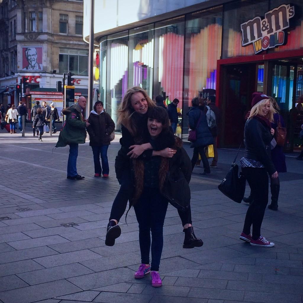 Jess and Rena outside M&M World