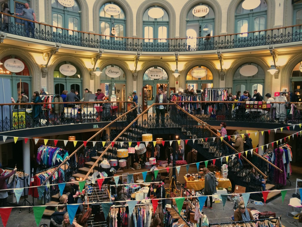 The interior of the Corn Exchange during the fair