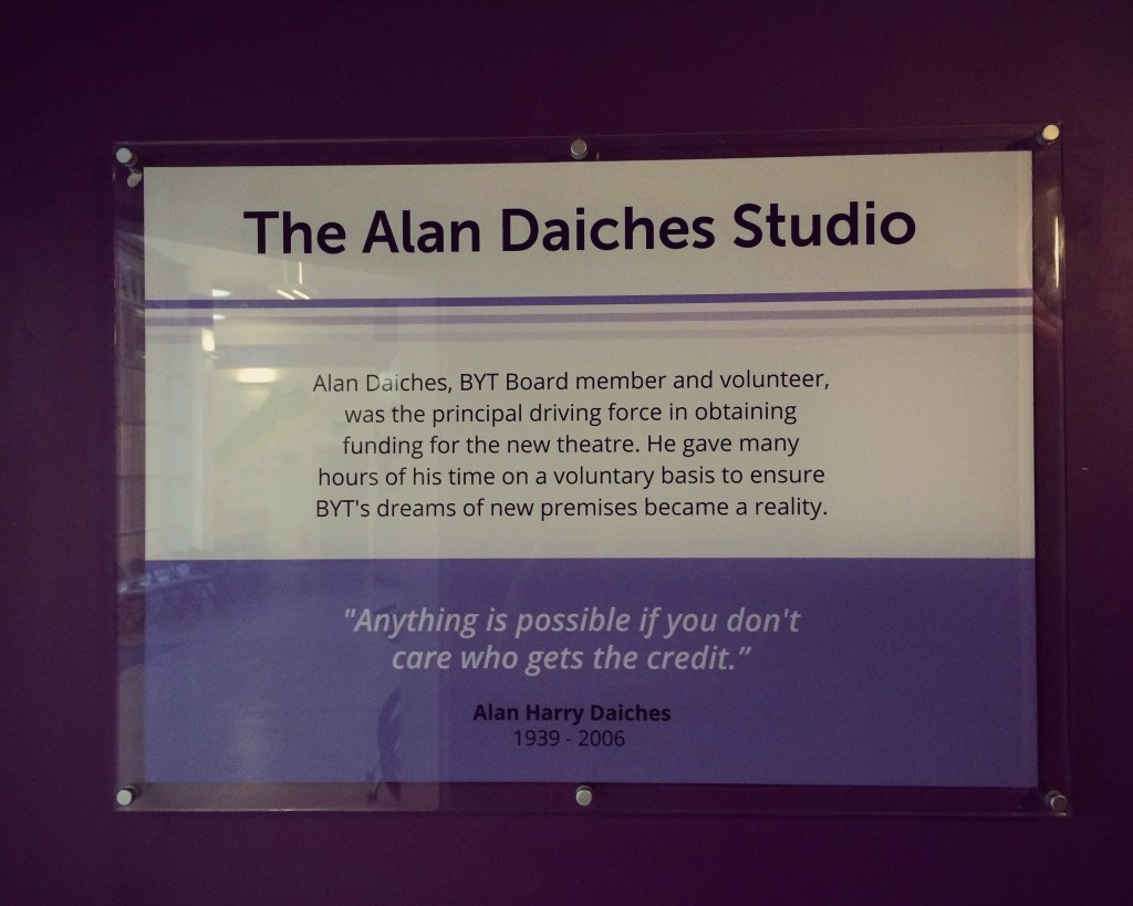 A new plaque for the Alan Daiches Studio