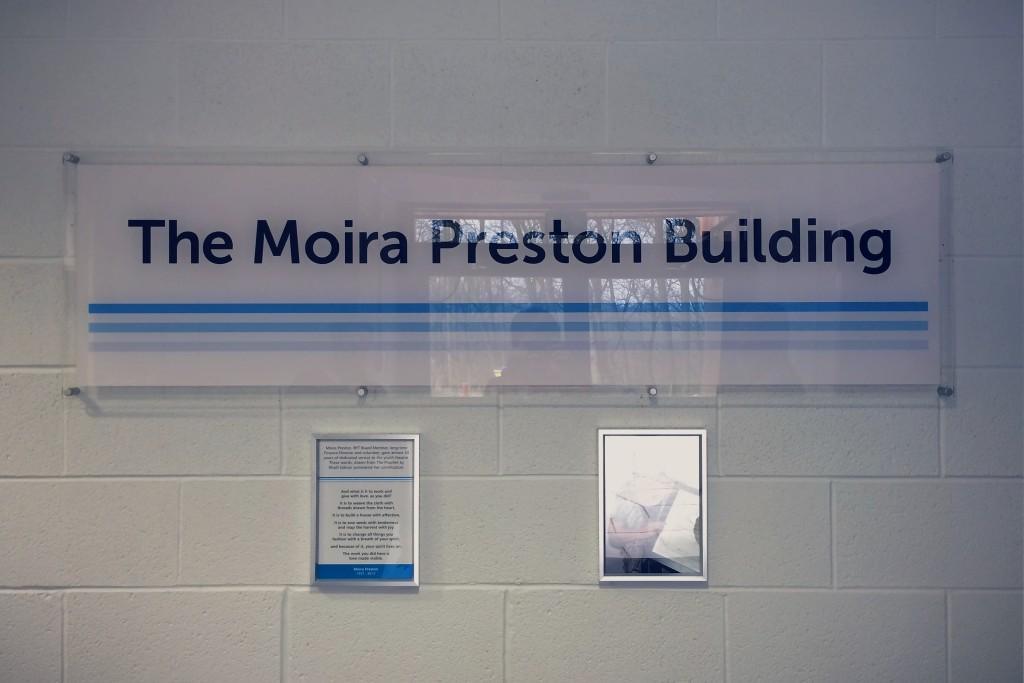 The Moira Preston Building foyer signage