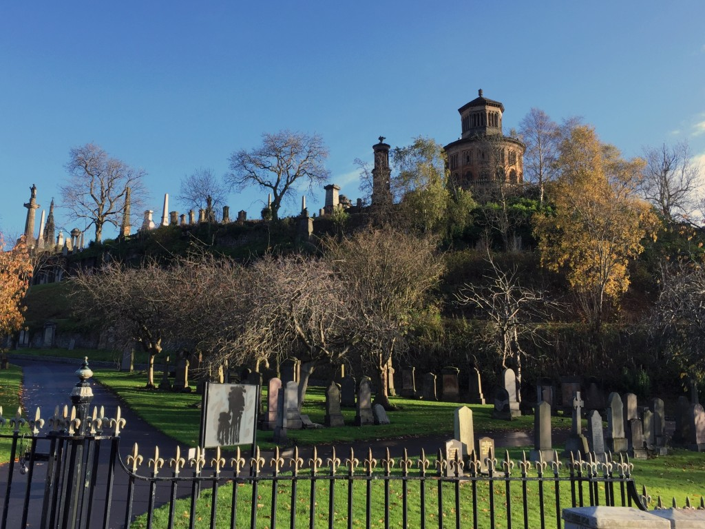Looking up the hill that forms the Glasgow Necropolis