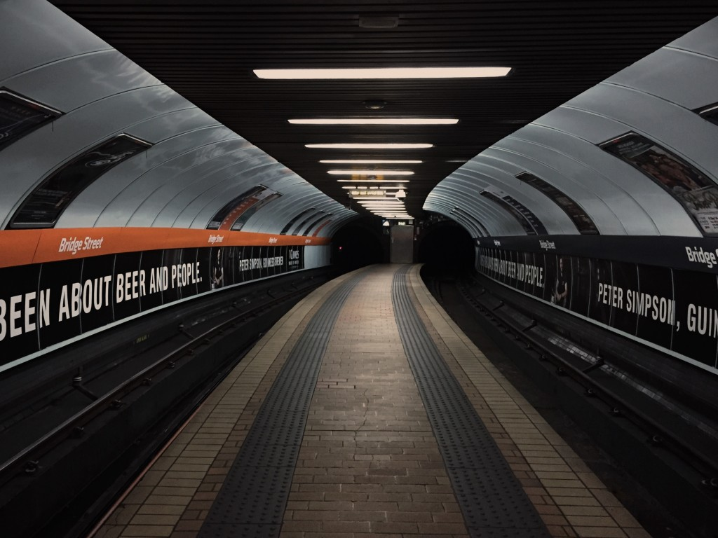 An empty subway platform in Glasgow