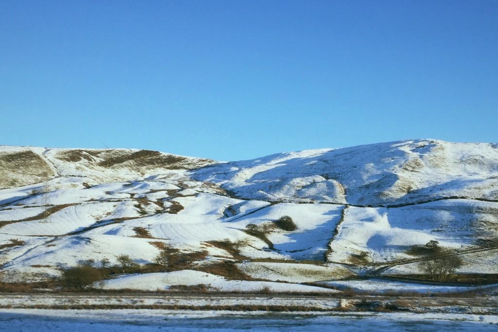 Snowy hills through Yorkshire