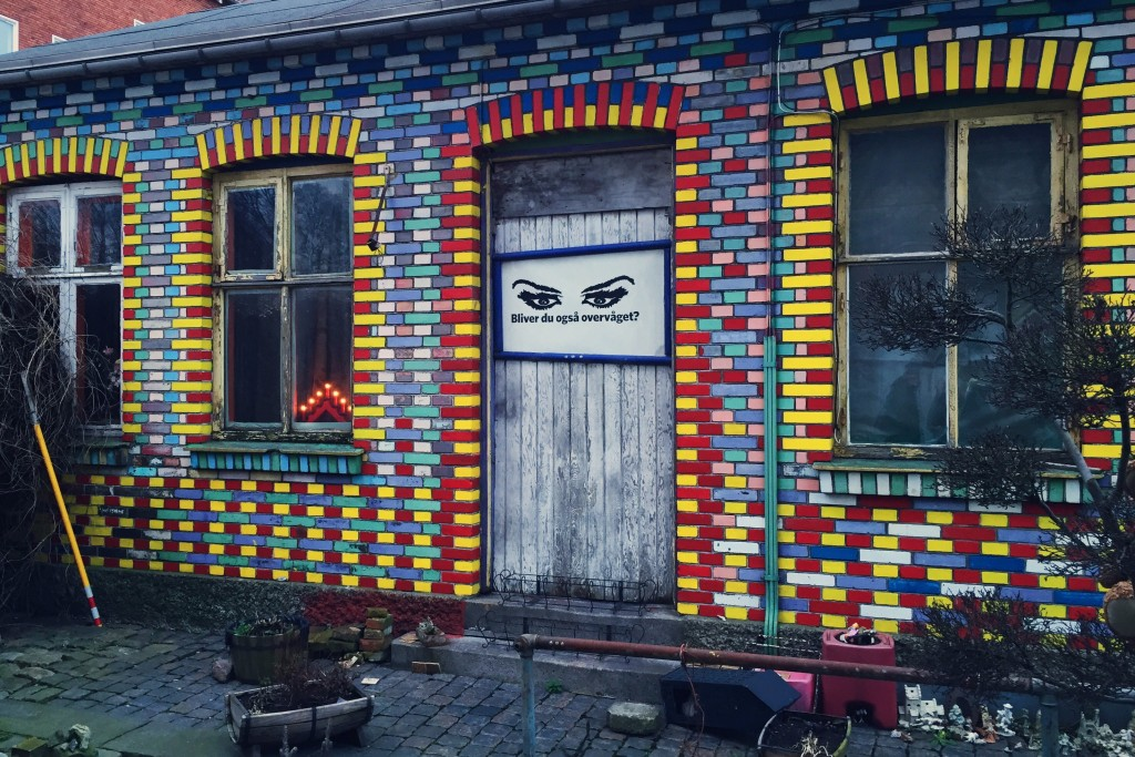 A quirky colourful building near one of the town's entrances