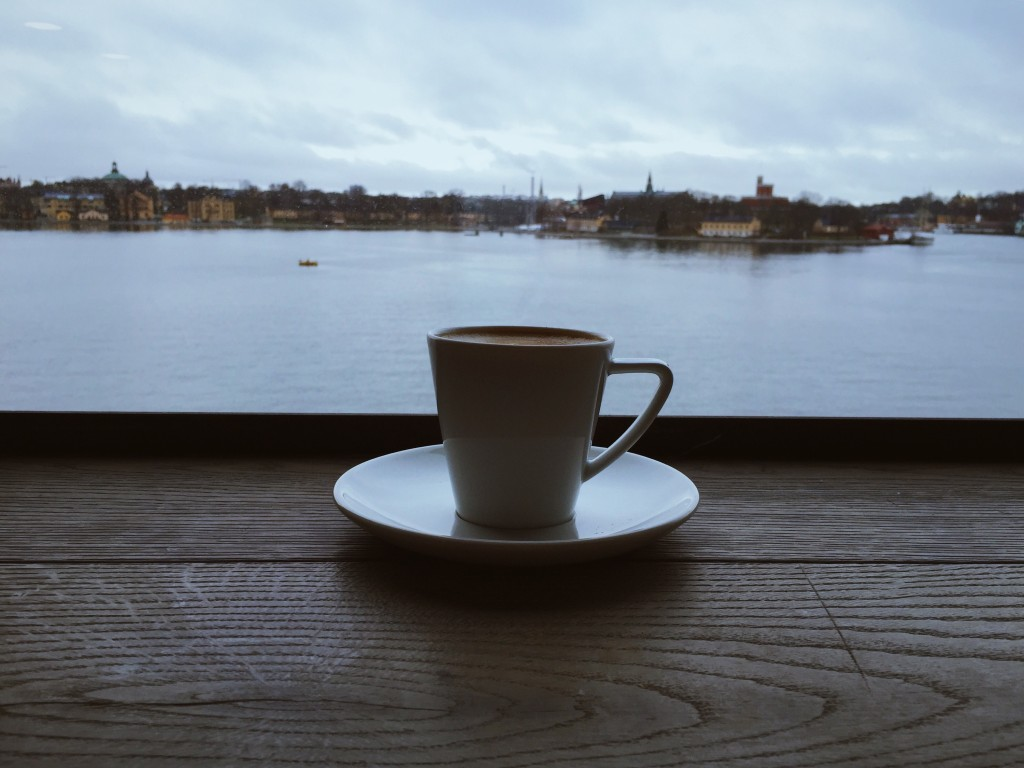 A brew with a view, a coffee over the water and the city