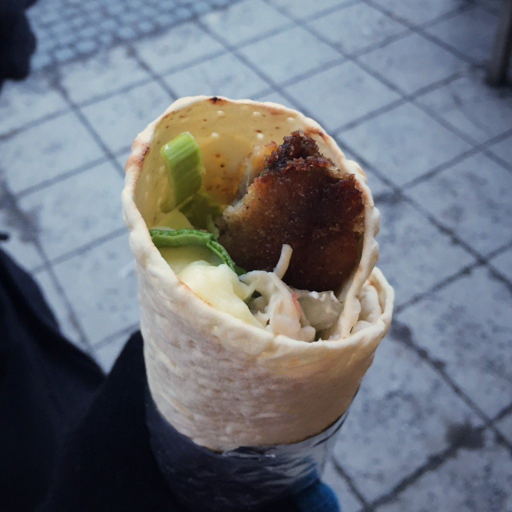My herring and mashed potato wrap