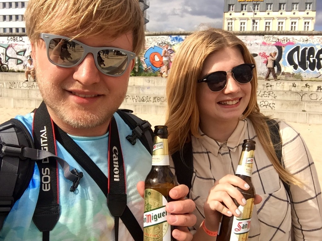 Me and Izzy with our free beer
