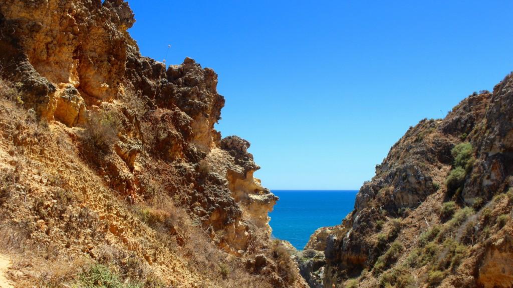 Sea and sky beyond the rocks