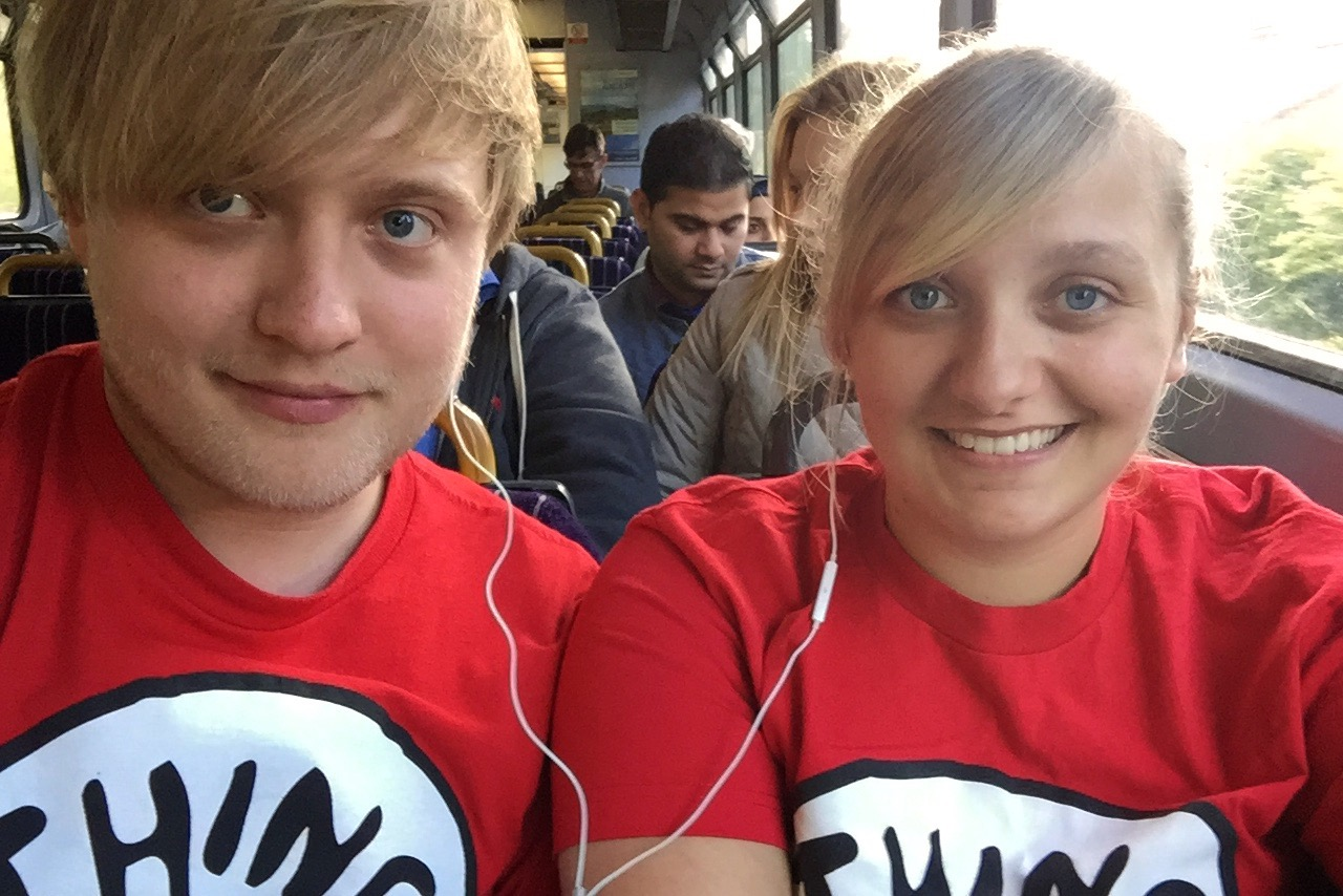 Thing 1 and 2 on the train