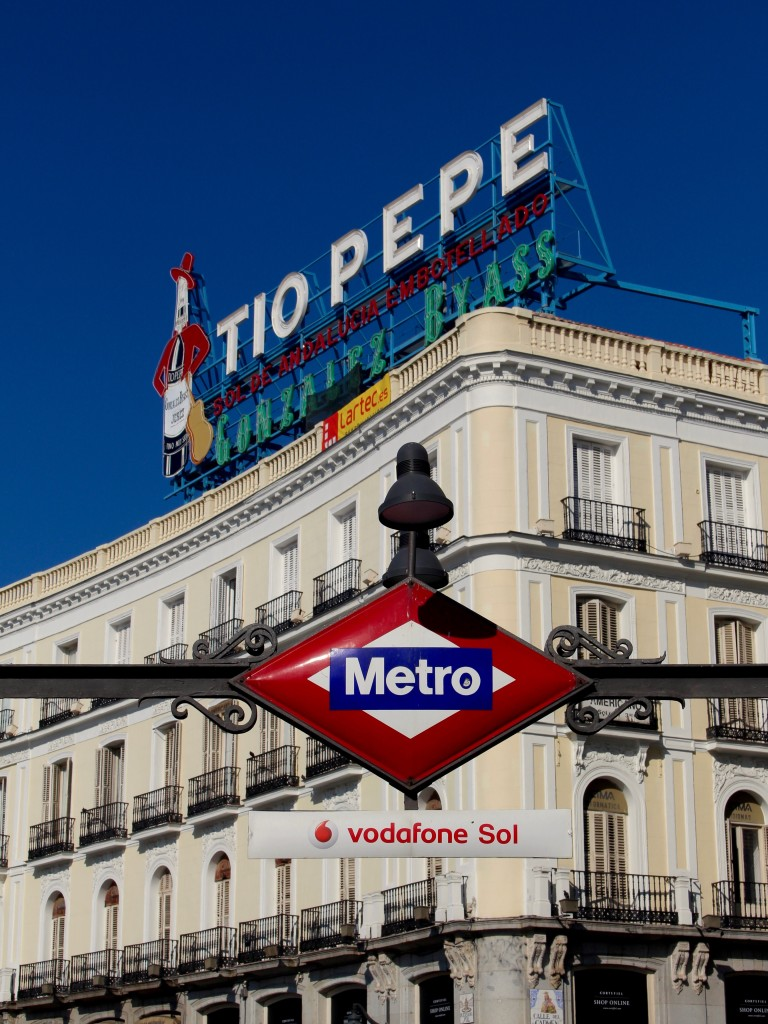 The Tio Pepe neon and Sol Metro station