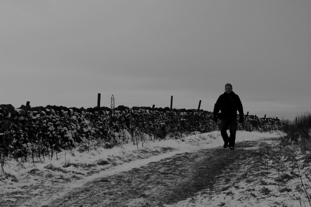 My dad ambling along alone