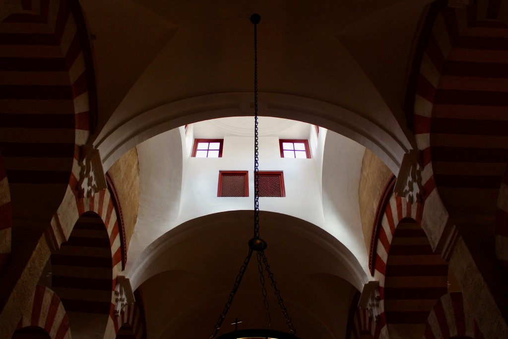 A vaulted ceiling