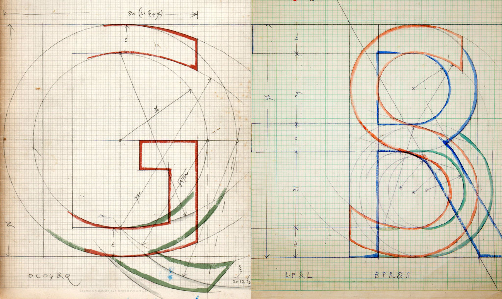 Gill's drawings for Gill Sans