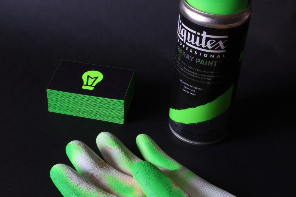 Spraying the cards and ruining our kitchen gloves