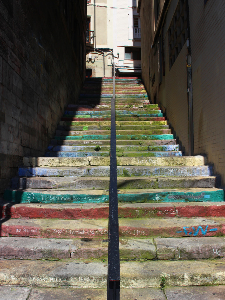Some colourful stairs along the way