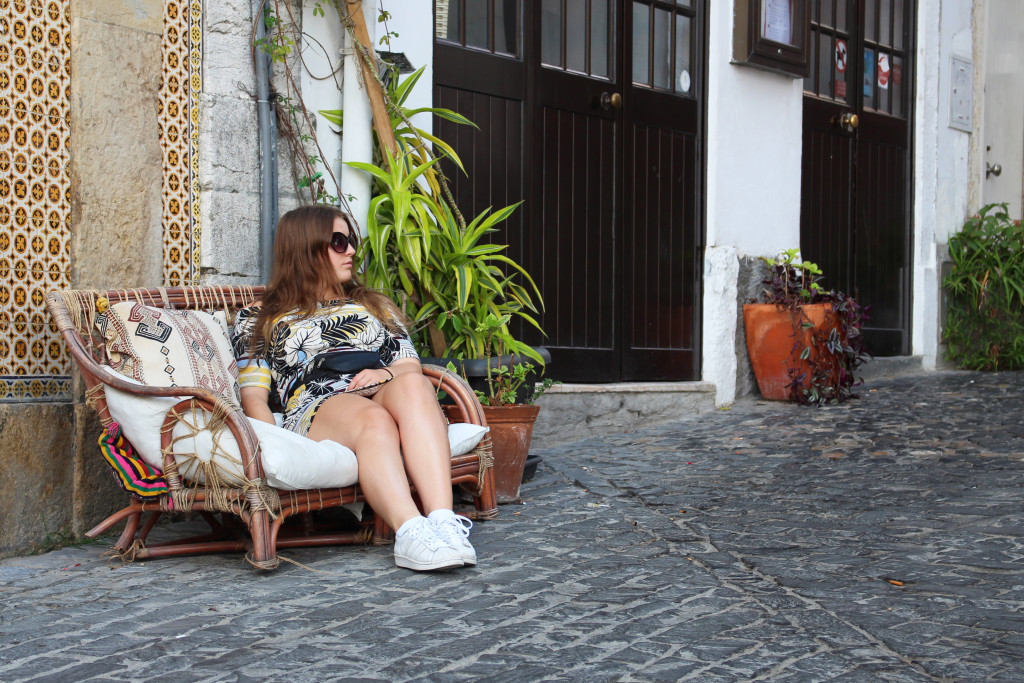 Relaxing during a wander round Alfama
