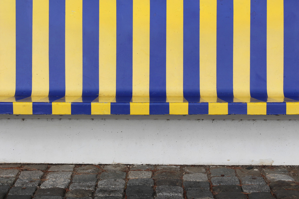 Who doesn't love a garish paint job on a bench?