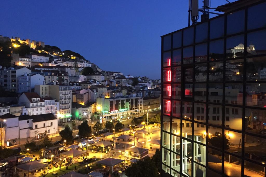 Night falls over Lisbon