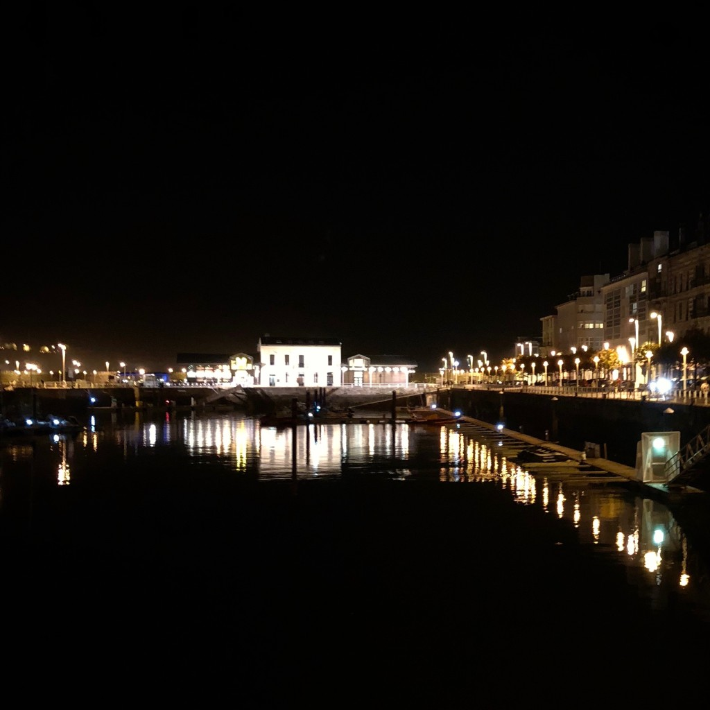 The docks of Gijón by night