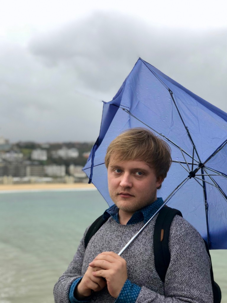 Mad at the broken umbrella