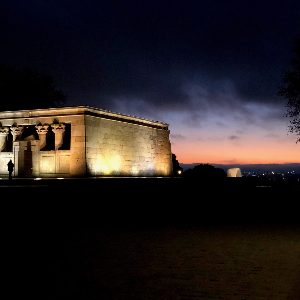 The sun sets on the Temple of Debod