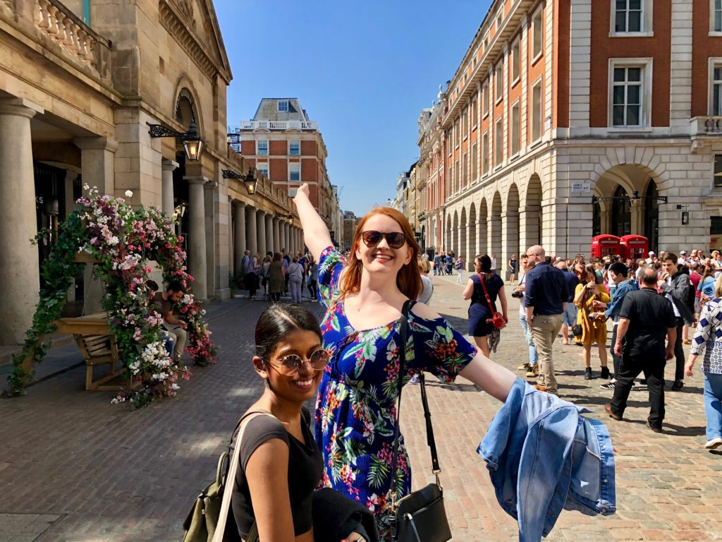 Em and Rhea in Covent Garden