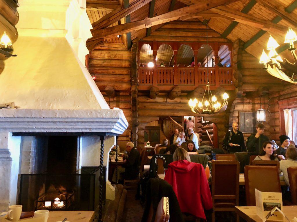 Inside the cozy restaurant