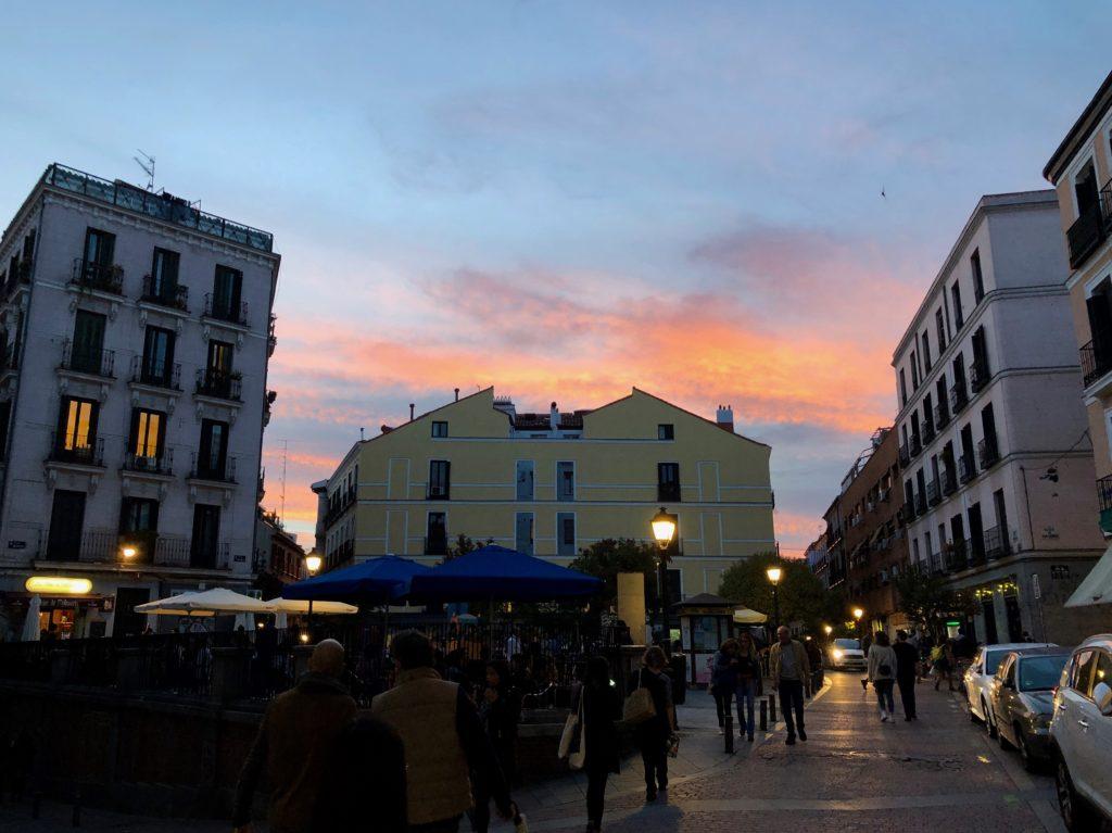 The sunset over Malasaña