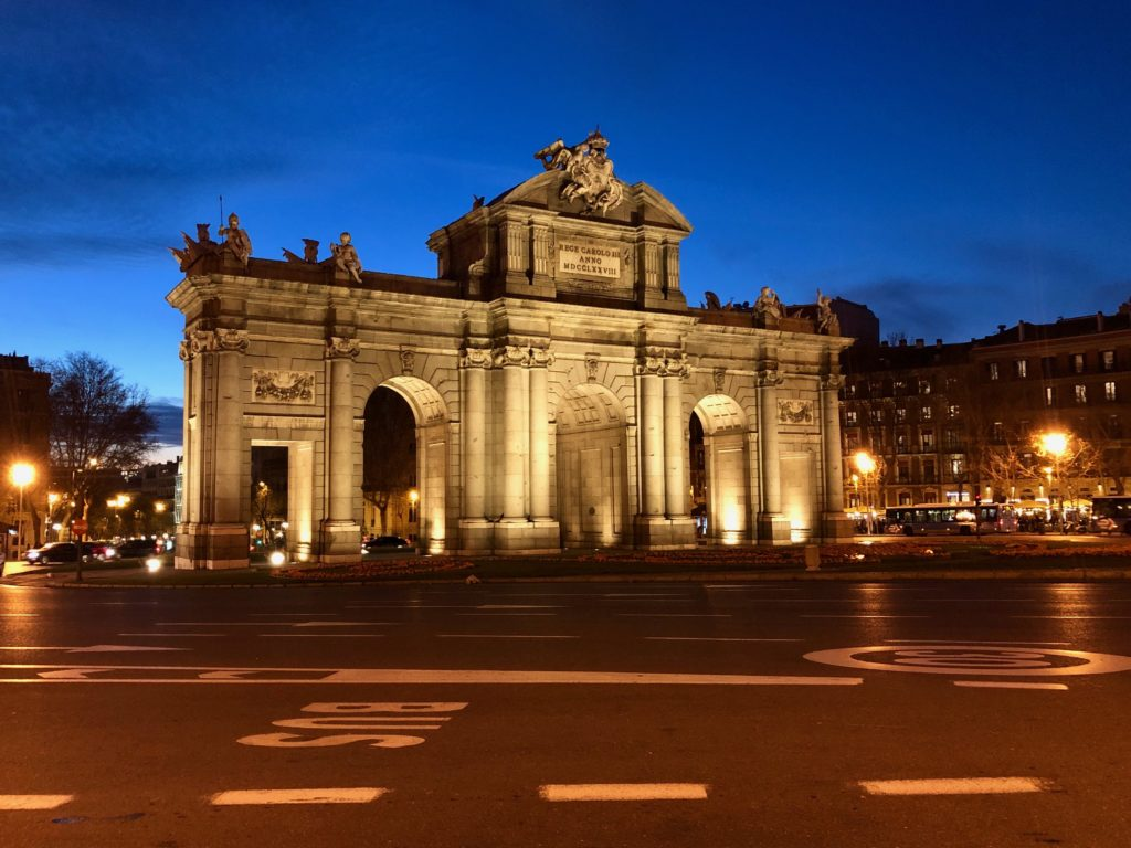 The Puerta de Alcalá in Madrid by night