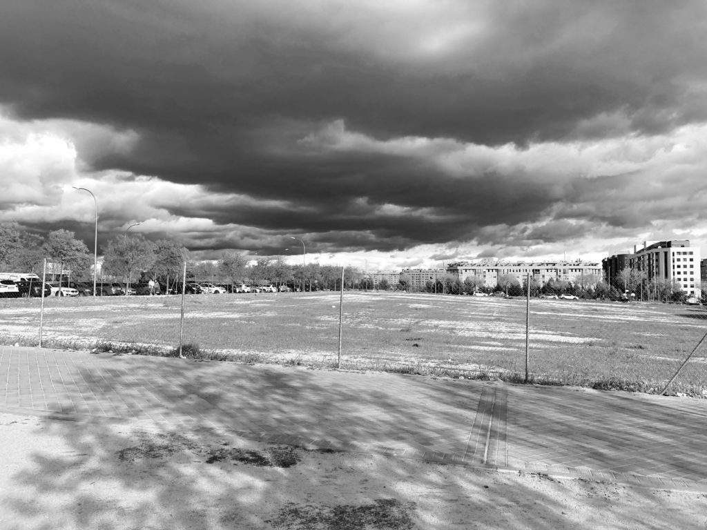 Stormy clouds gather over the south of Madrid.