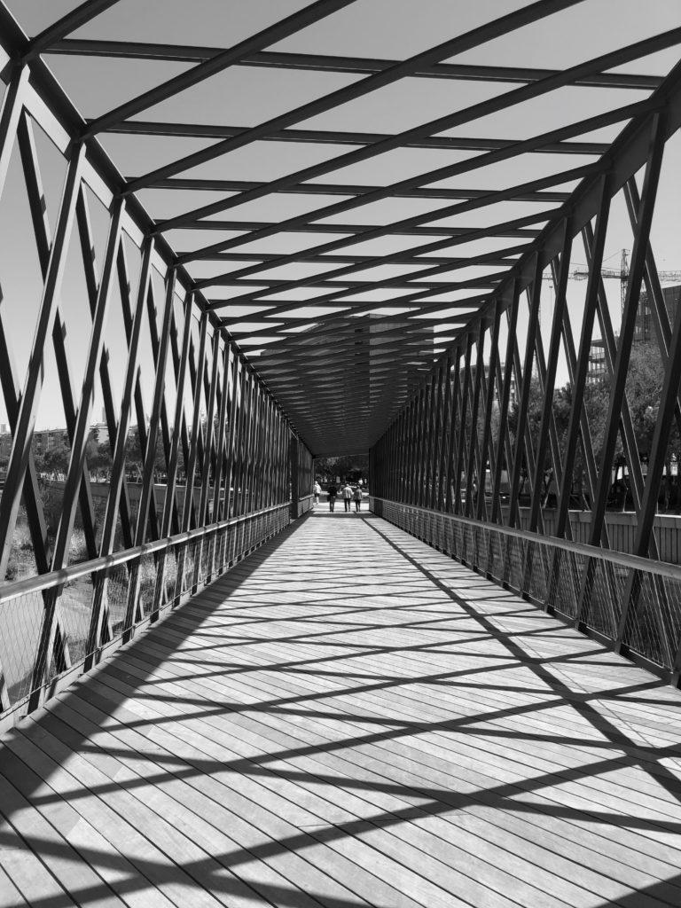 A bridge over a river.