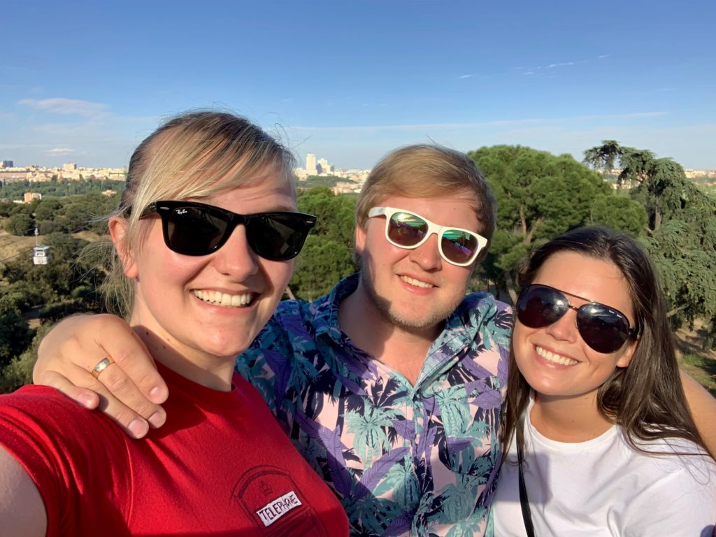 Danni, me, and Abi take a selfie by the Casa de Campo Teleférico Station overlooking Madrid.