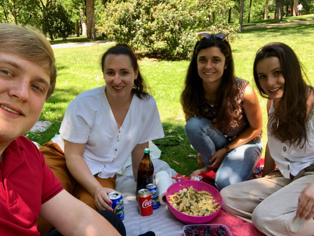 Me, Megan, Loredana, and Heidi sat ready for our picnic.