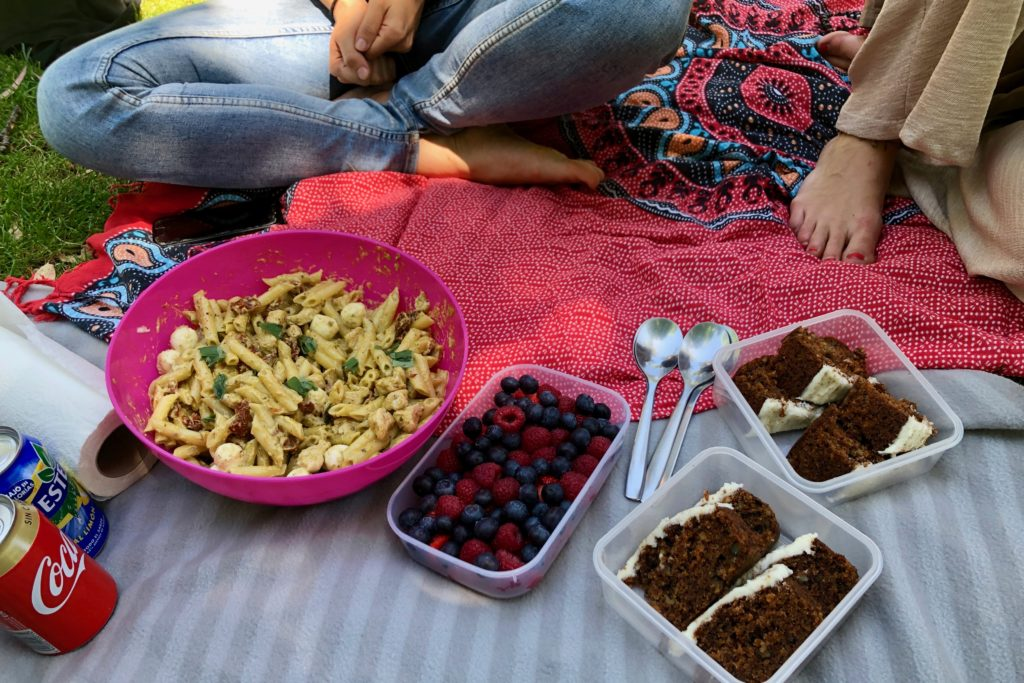 Our picnic spread of a bowl of pasta salad, a fruit salad, and slices of carrot cake.