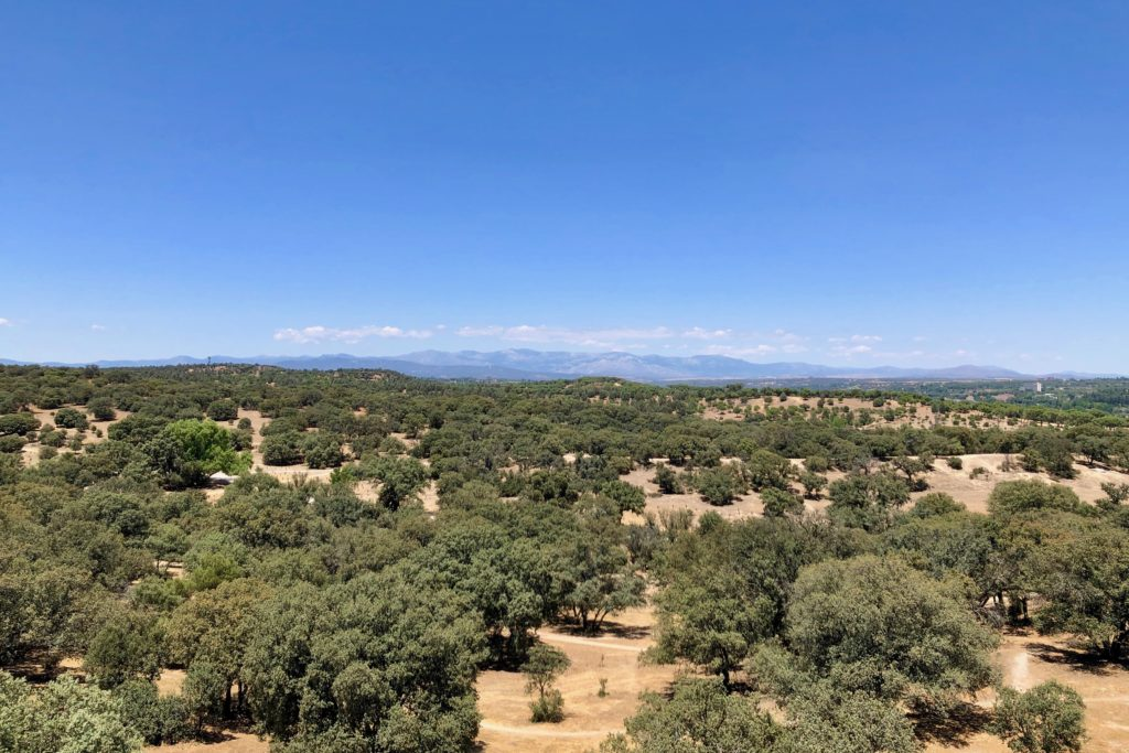 The mountains surrounding Madrid seen from the cable car over the Casa de Campo.