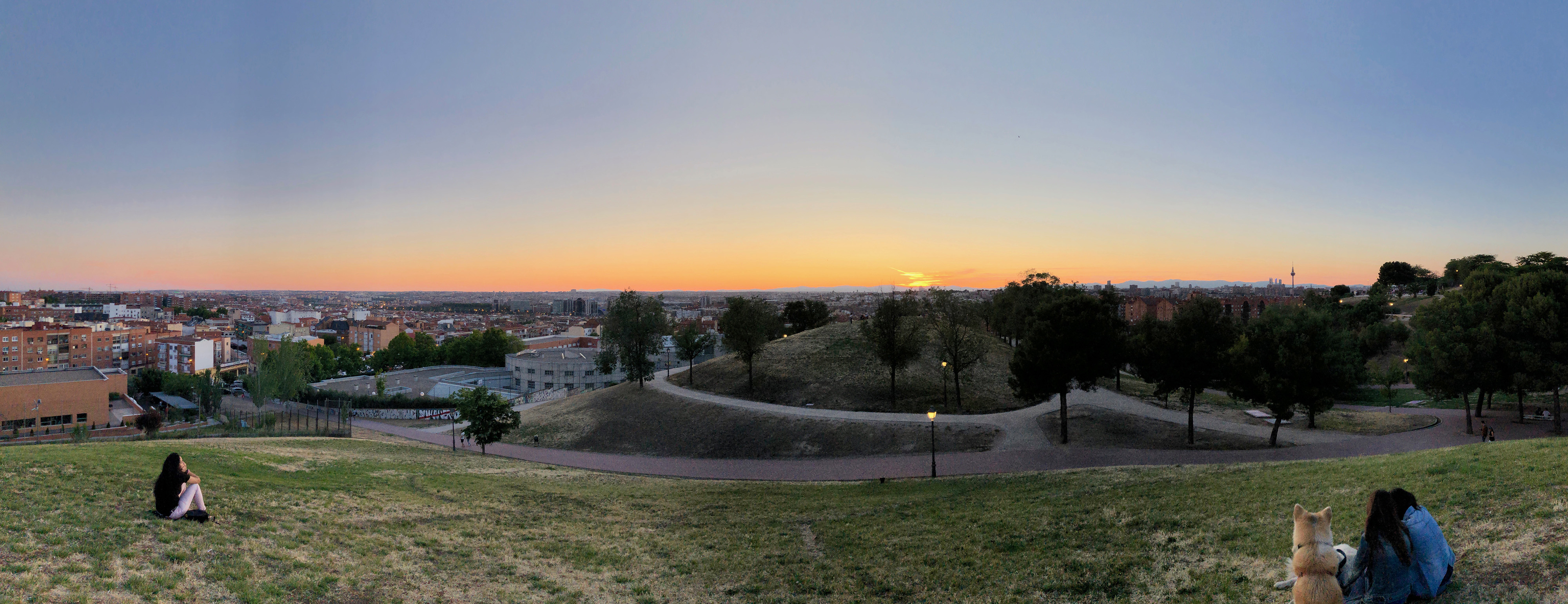 A panorama of a Madrid sunset.