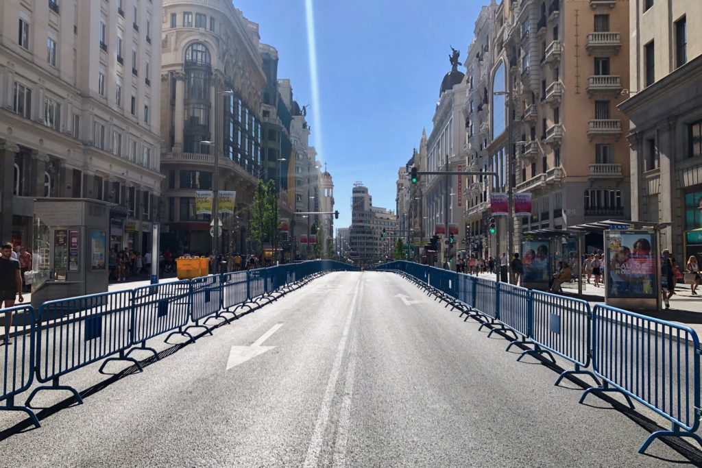 A rare, deserted Gran Vía in Madrid, Spain.