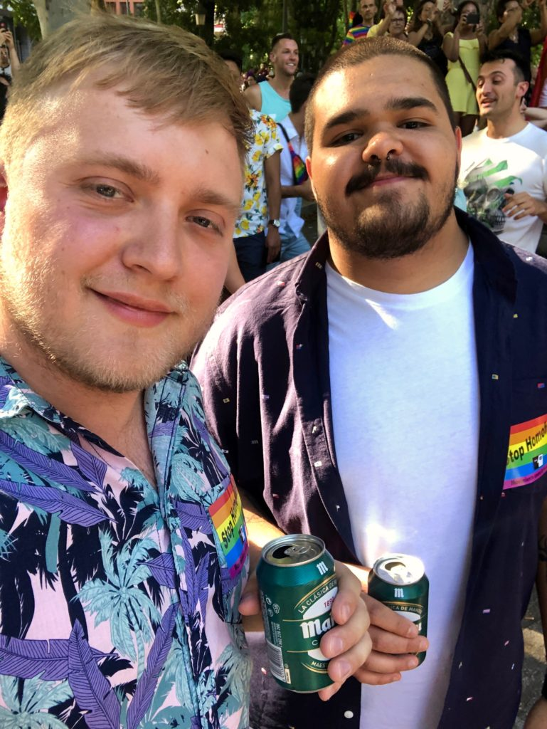 A selfie of me and my friend Leo at Pride, Madrid.