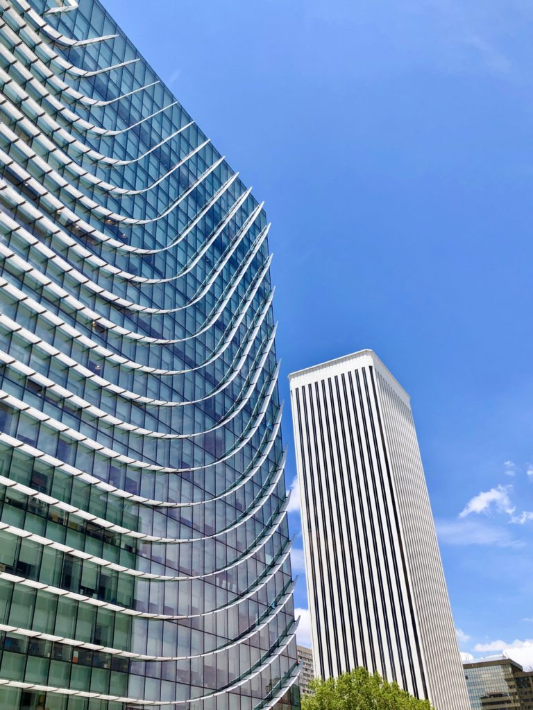 A Madrid office building with a wavy-shaped series of sun screens.