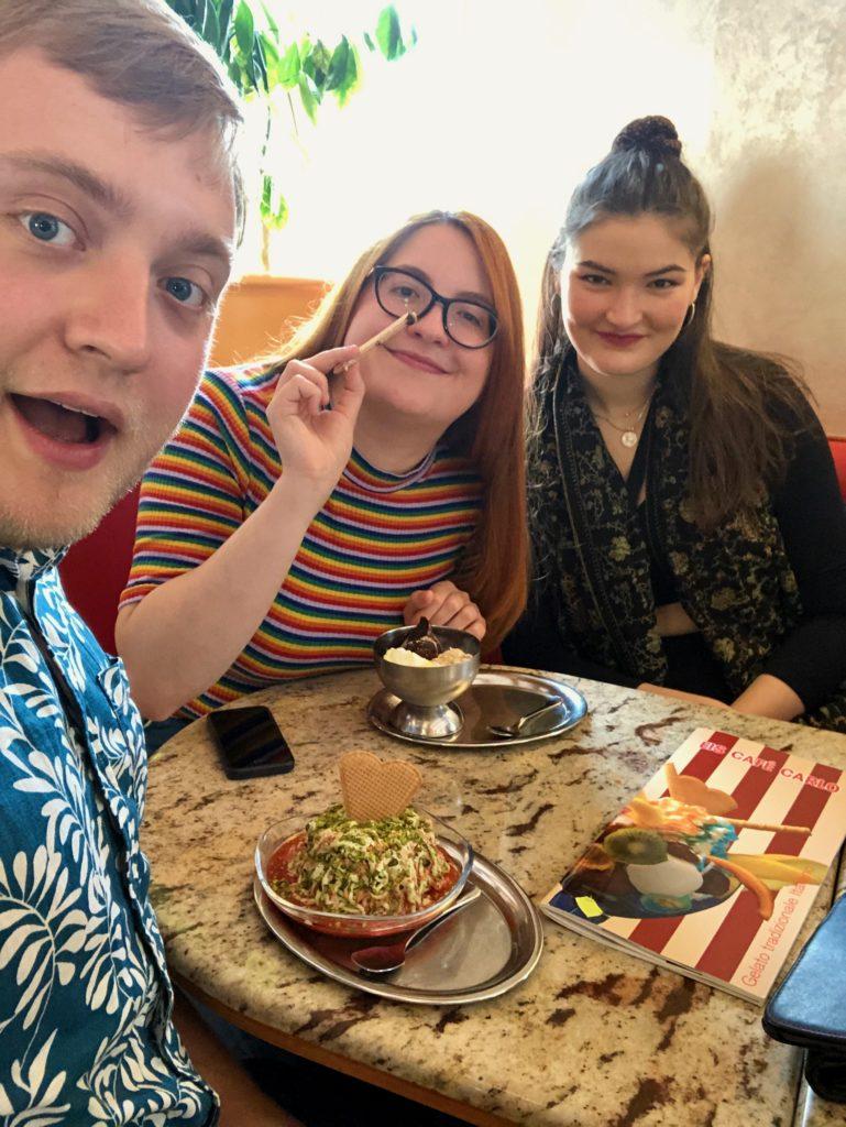 Me, Luisa, and Evie enjoy ice cream.