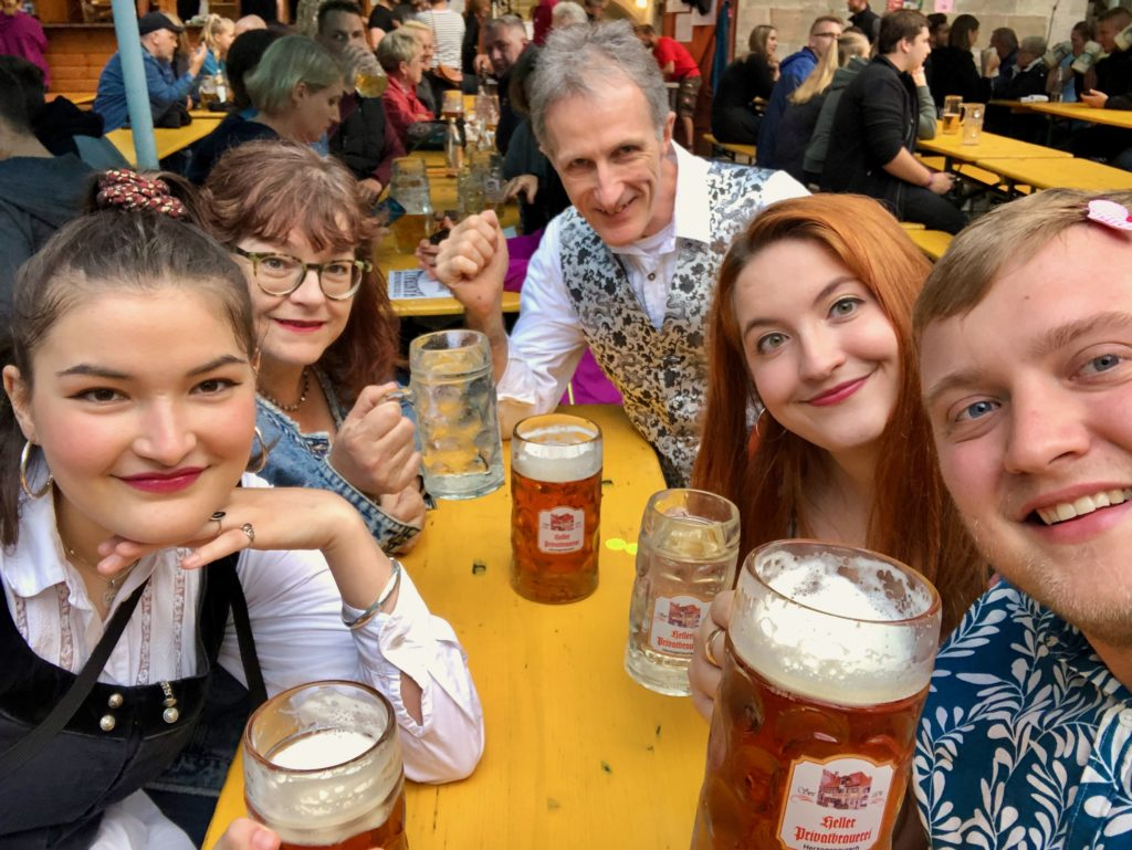 Me and the Smith family begin drinking at the beer festival in Germany.
