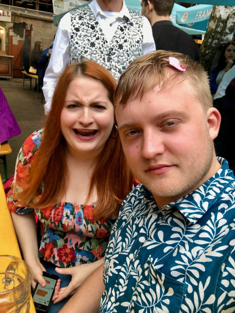 Luisa and I look terrible at the beer festival.
