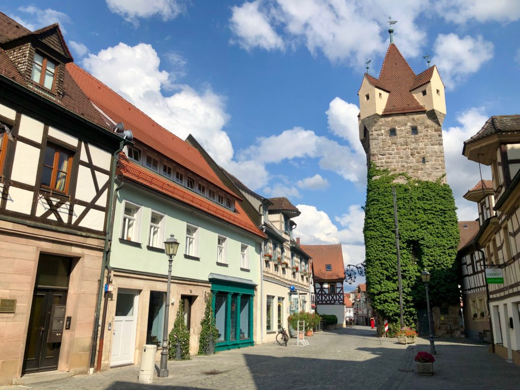 One of the two towers which stands in the centre of Herzogenaurach, Germany.