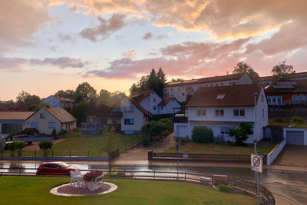 The sunset creates a pink sky over Herzogenaurach, Germany.