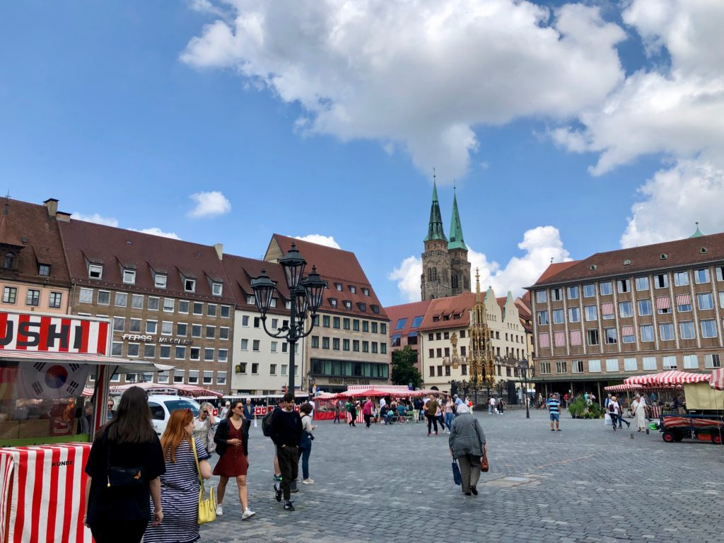 Looking over the main square in Nuremberg.