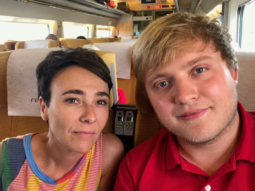 Me and Rocío on the train to Barcelona.