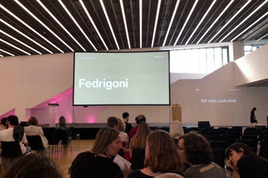The interior of the Museu del Disseny, with the presentation screen showing sponsors. Taken before the event.